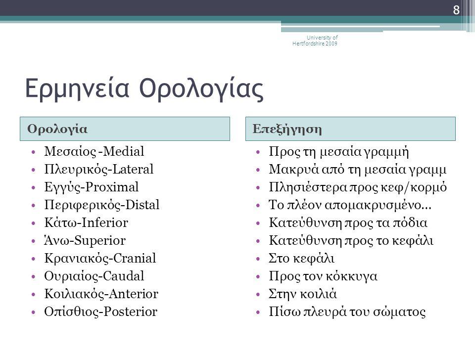 Ερμηνεία Ορολογίας Μεσαίος -Medial Πλευρικός-Lateral Εγγύς-Proximal