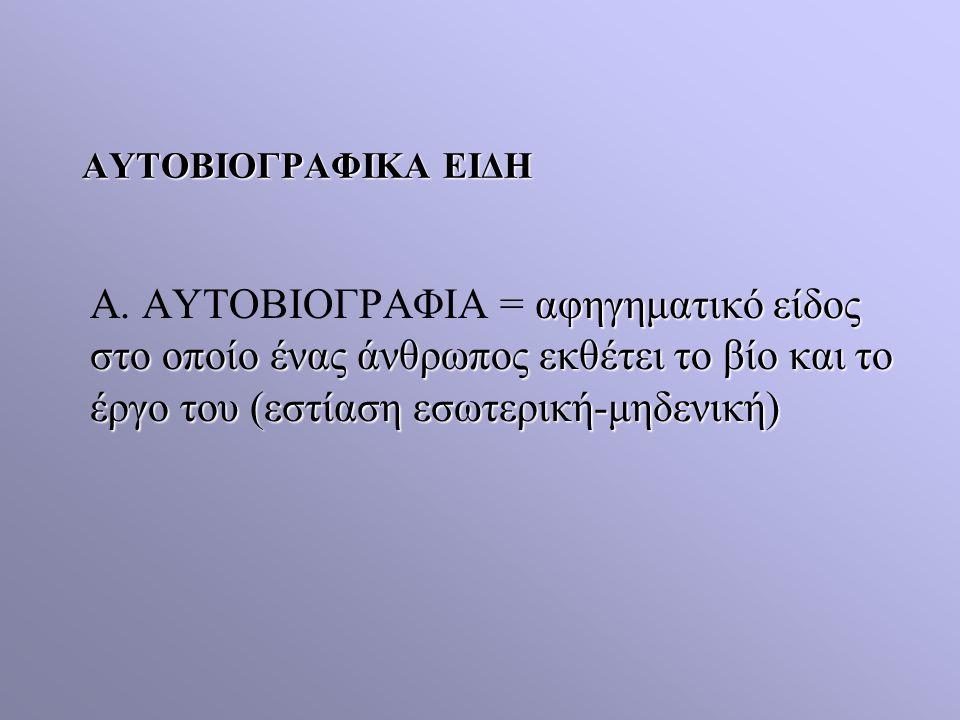 ΑΥΤΟΒΙΟΓΡΑΦΙΚΑ ΕΙΔΗ Α.