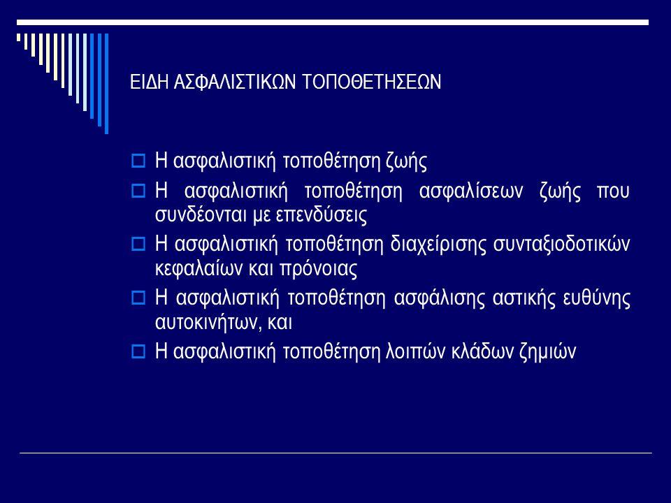 ΕΙΔΗ ΑΣΦΑΛΙΣΤΙΚΩΝ ΤΟΠΟΘΕΤΗΣΕΩΝ