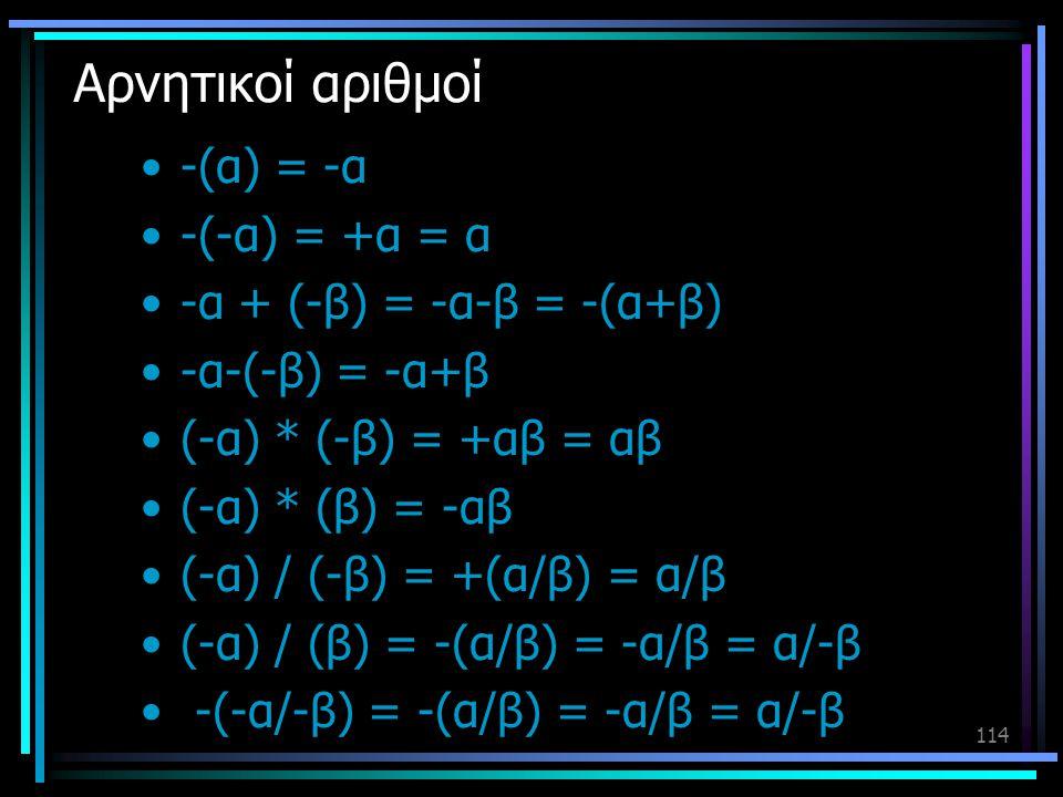 Αρνητικοί αριθμοί -(α) = -α -(-α) = +α = α -α + (-β) = -α-β = -(α+β)
