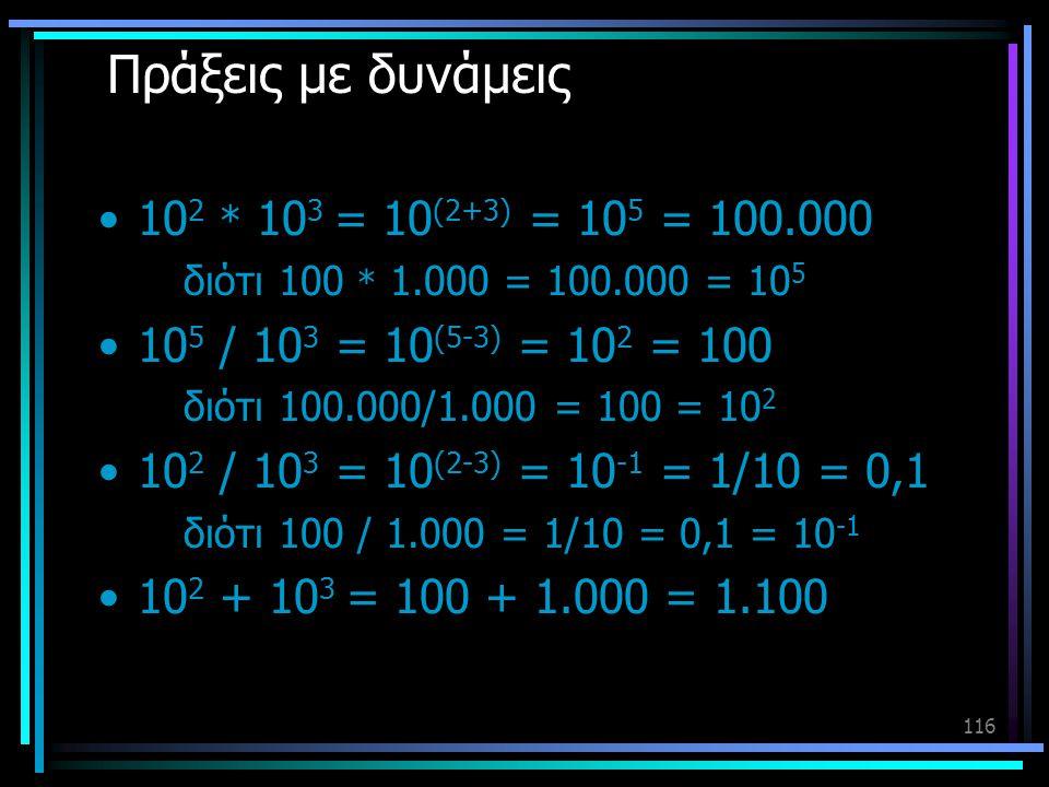 Πράξεις με δυνάμεις 102 * 103 = 10(2+3) = 105 = 100.000
