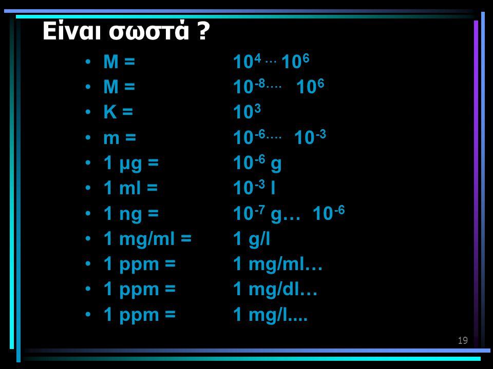 Είναι σωστά Μ = 104 … 106 Μ = 10-8…. 106 Κ = 103 m = 10-6…. 10-3