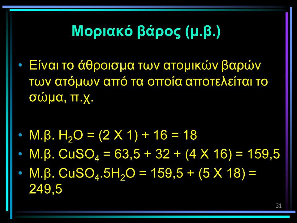 Μοριακό βάρος (μ.β.) Είναι το άθροισμα των ατομικών βαρών των ατόμων από τα οποία αποτελείται το σώμα, π.χ.