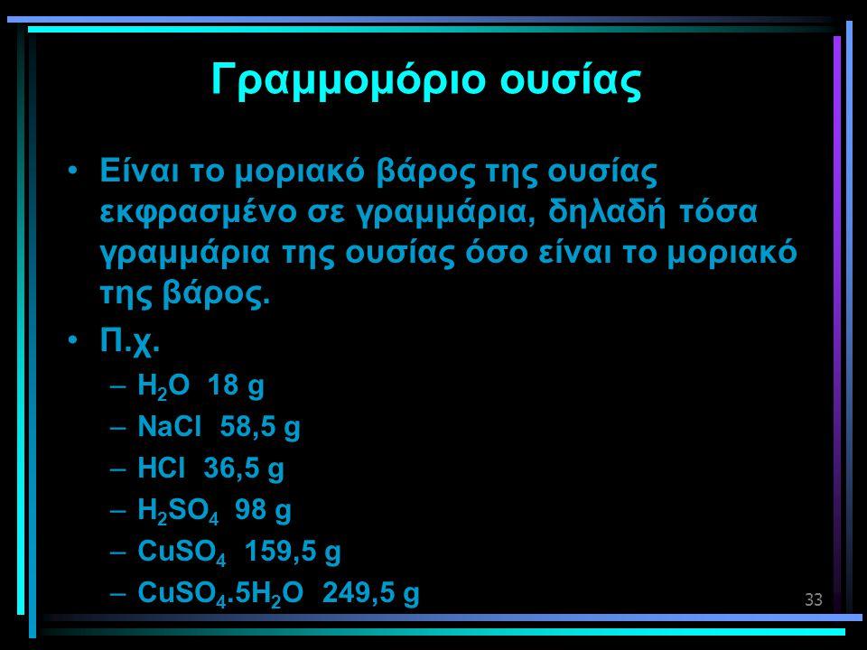 Γραμμομόριο ουσίας Είναι το μοριακό βάρος της ουσίας εκφρασμένο σε γραμμάρια, δηλαδή τόσα γραμμάρια της ουσίας όσο είναι το μοριακό της βάρος.