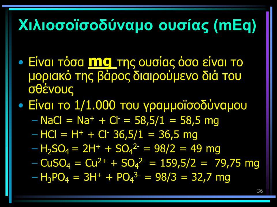 Χιλιοσοϊσοδύναμο ουσίας (mEq)