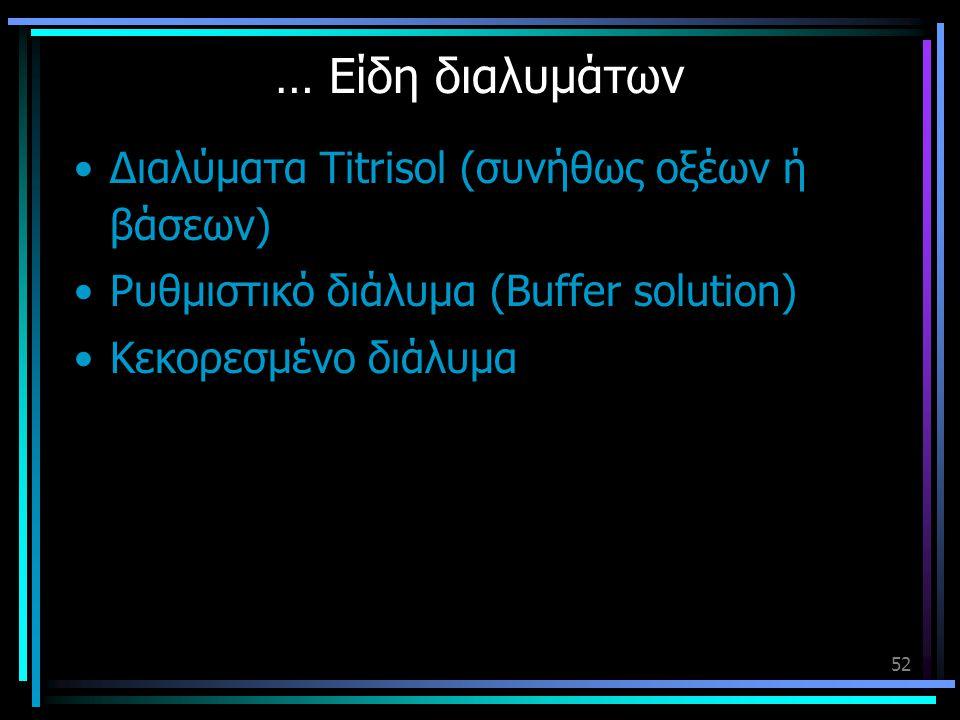 … Είδη διαλυμάτων Διαλύματα Titrisol (συνήθως οξέων ή βάσεων)