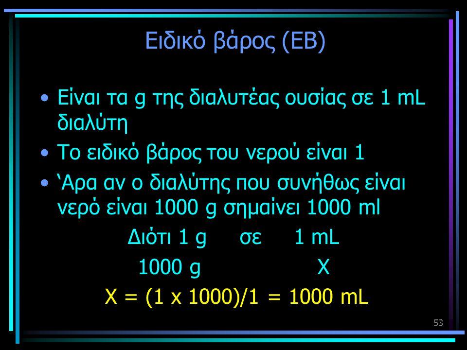 Ειδικό βάρος (ΕΒ) Είναι τα g της διαλυτέας ουσίας σε 1 mL διαλύτη