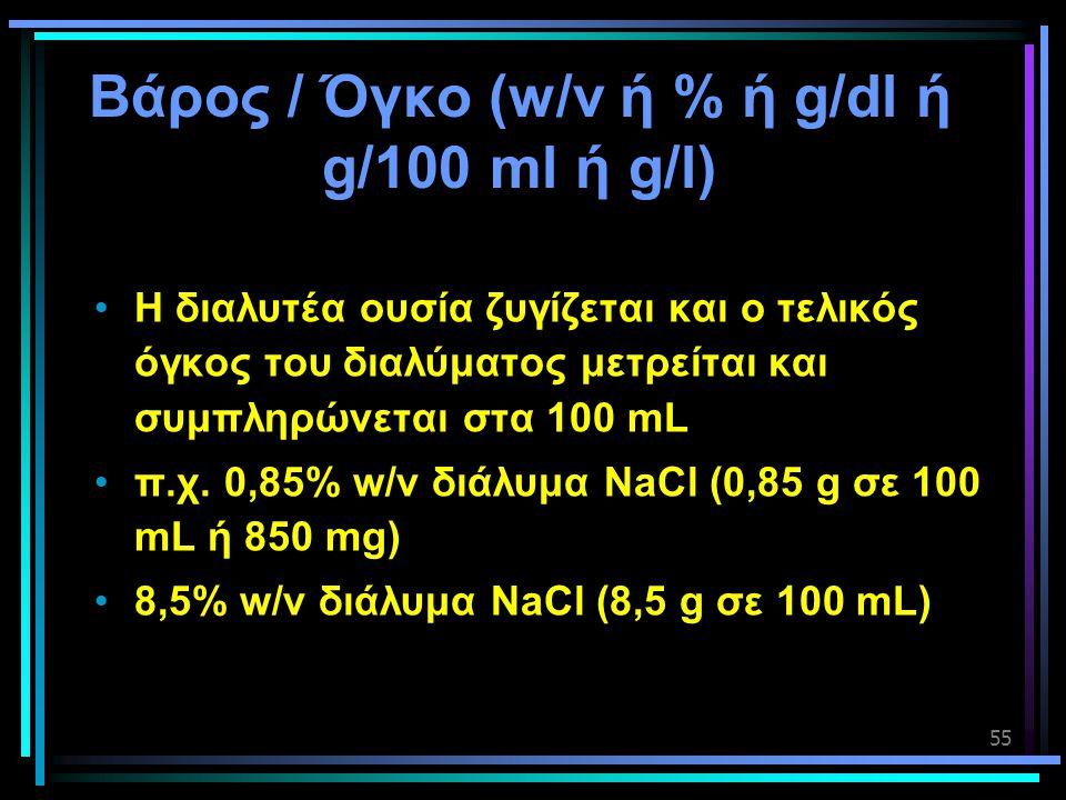 Βάρος / Όγκο (w/v ή % ή g/dl ή g/100 ml ή g/l)