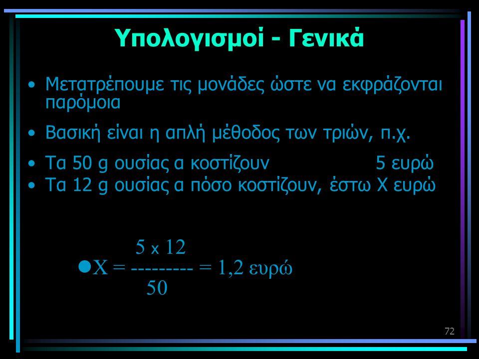 Υπολογισμοί - Γενικά 5 x 12 Χ = --------- = 1,2 ευρώ 50