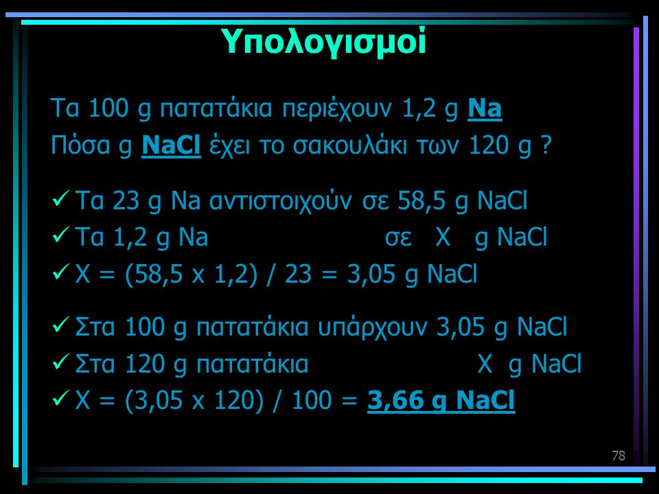 Υπολογισμοί Τα 100 g πατατάκια περιέχουν 1,2 g Na