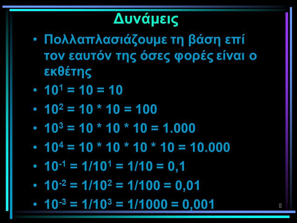 Δυνάμεις Πολλαπλασιάζουμε τη βάση επί τον εαυτόν της όσες φορές είναι ο εκθέτης. 101 = 10 = 10. 102 = 10 * 10 = 100.