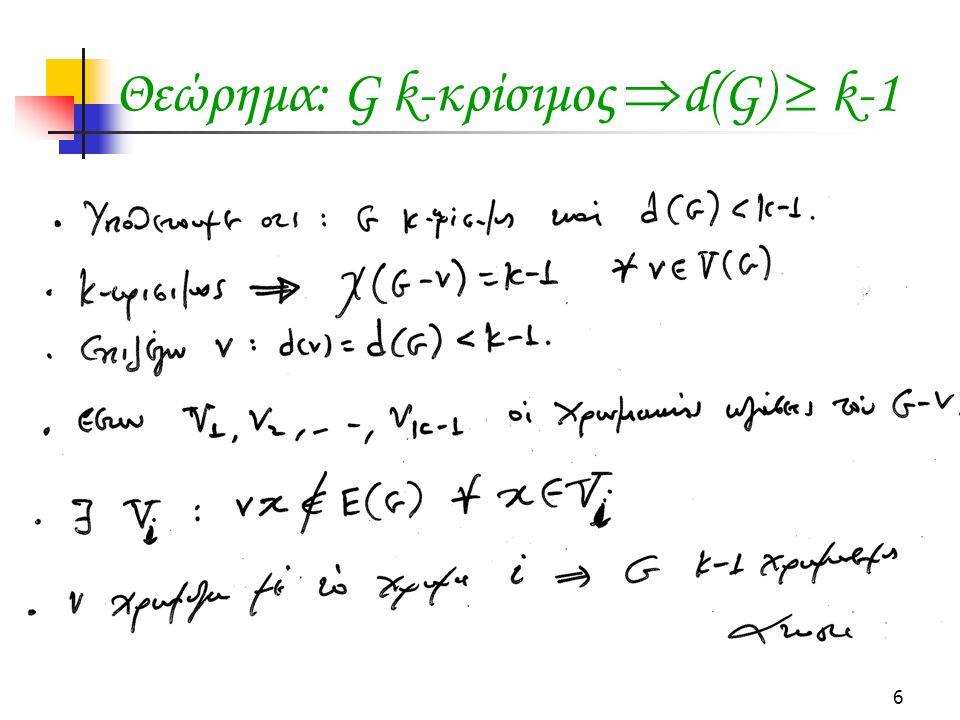 Θεώρημα: G k-κρίσιμος d(G)  k-1