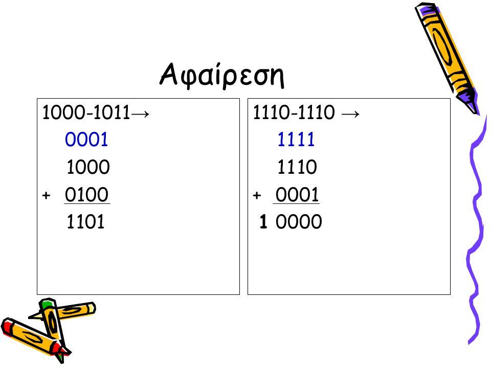 Αφαίρεση 1000-1011→ 0 0 0 1. 1 0 0 0. + 0 1 0 0. 1 1 0 1. 1110-1110 → 1 1 1 1. 1 1 1 0. + 0 0 0 1.