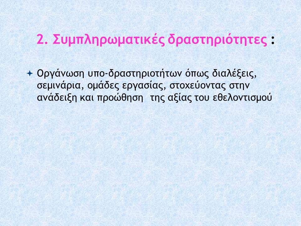 2. Συμπληρωματικές δραστηριότητες :