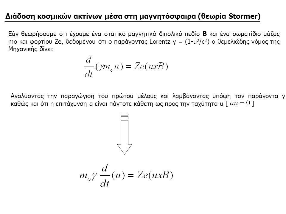 Διάδοση κοσμικών ακτίνων μέσα στη μαγνητόσφαιρα (θεωρία Stormer)