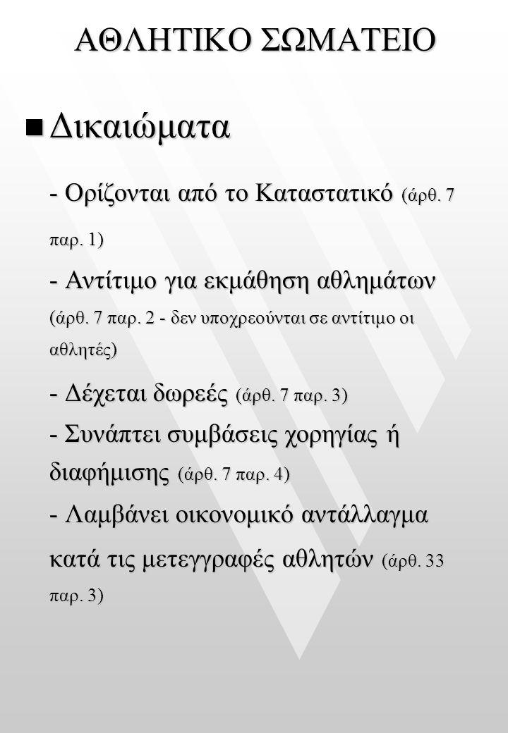 Δικαιώματα ΑΘΛΗΤΙΚΟ ΣΩΜΑΤΕΙΟ