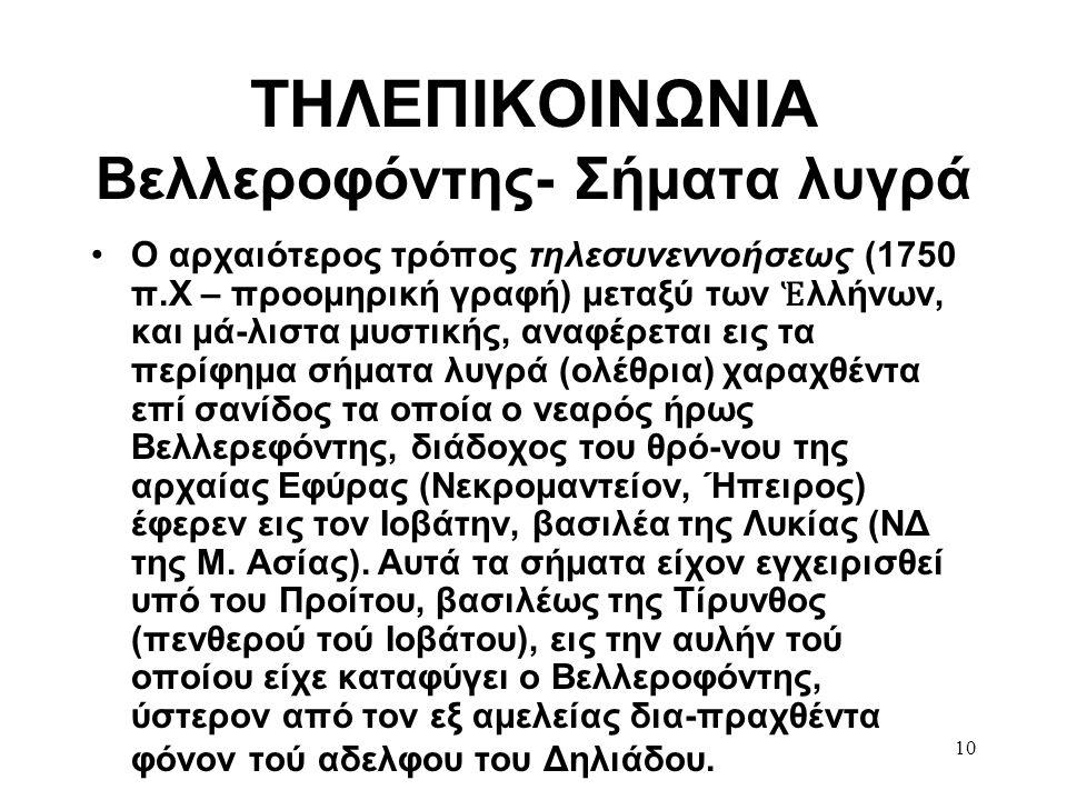 ΤΗΛΕΠΙΚΟΙΝΩΝΙΑ Βελλεροφόντης- Σήματα λυγρά