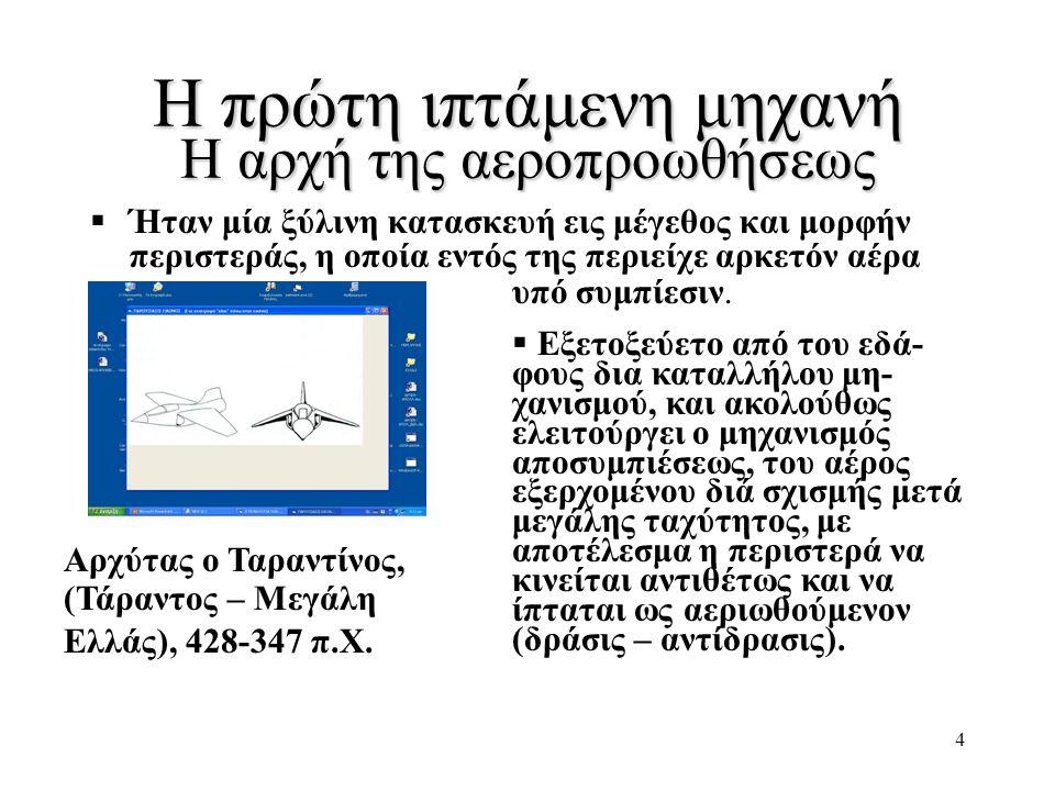 Η πρώτη ιπτάμενη μηχανή Η αρχή της αεροπροωθήσεως