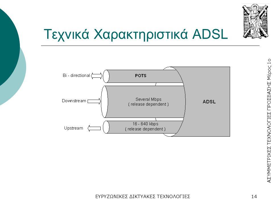 Τεχνικά Χαρακτηριστικά ADSL