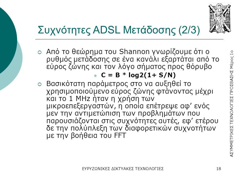 Συχνότητες ADSL Μετάδοσης (2/3)