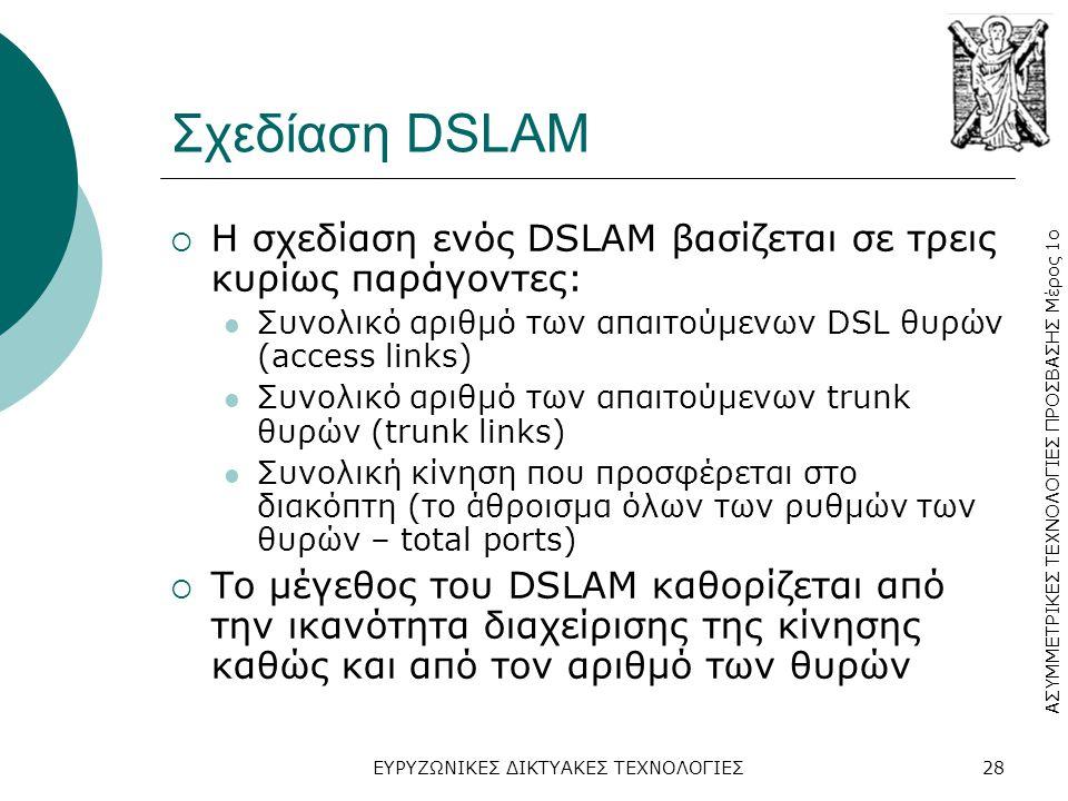 Σχεδίαση DSLAM Η σχεδίαση ενός DSLAM βασίζεται σε τρεις κυρίως παράγοντες: Συνολικό αριθμό των απαιτούμενων DSL θυρών (access links)
