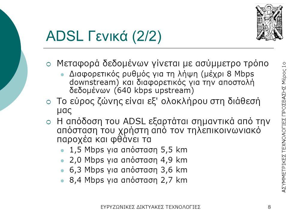 ADSL Γενικά (2/2) Μεταφορά δεδομένων γίνεται με ασύμμετρο τρόπο
