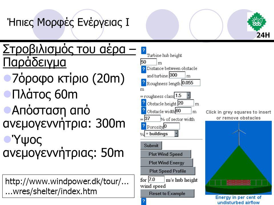 Στροβιλισμός του αέρα – Παράδειγμα 7όροφο κτίριο (20m) Πλάτος 60m