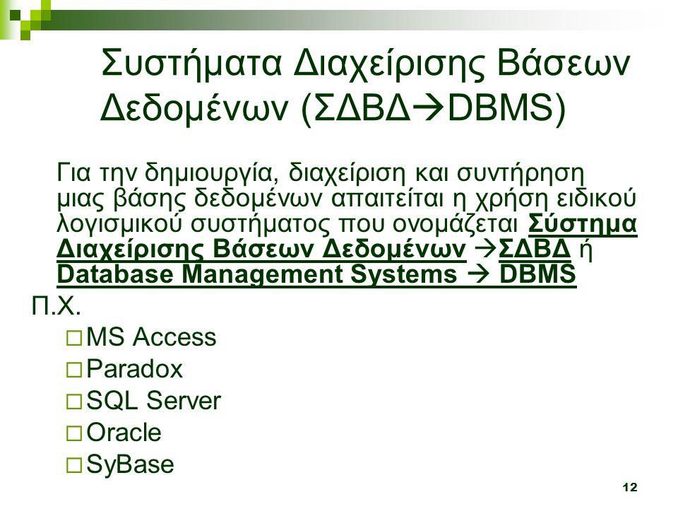 Συστήματα Διαχείρισης Βάσεων Δεδομένων (ΣΔΒΔDBMS)