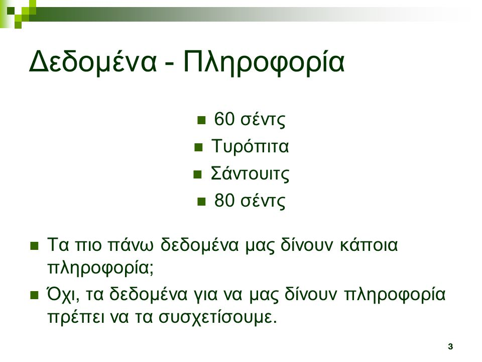 Δεδομένα - Πληροφορία 60 σέντς Τυρόπιτα Σάντουιτς 80 σέντς