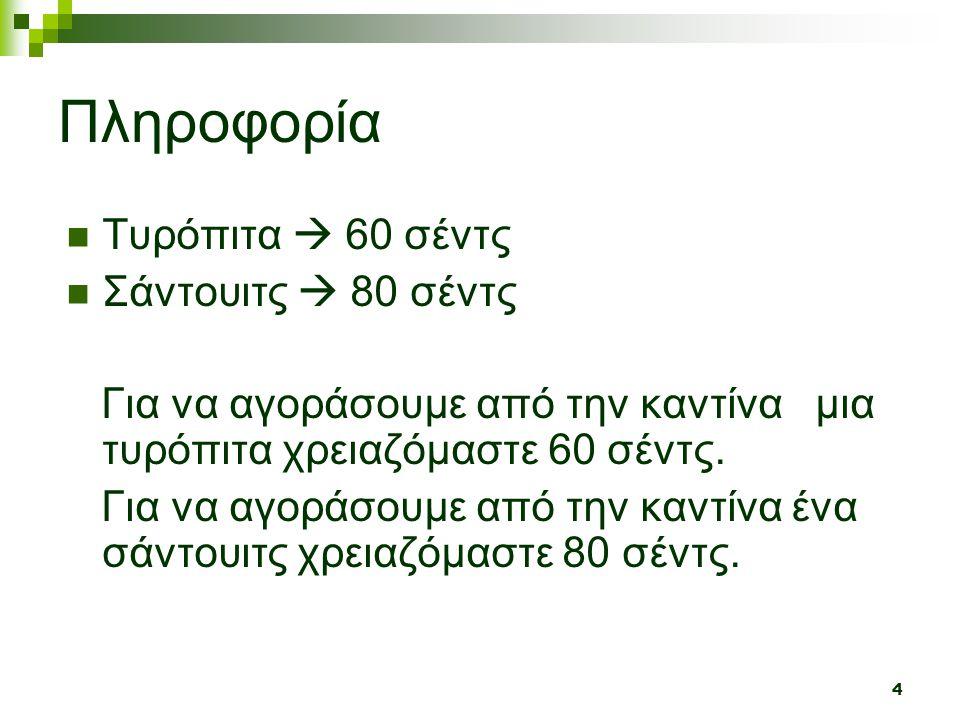 Πληροφορία Τυρόπιτα  60 σέντς Σάντουιτς  80 σέντς