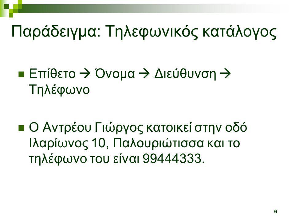 Παράδειγμα: Τηλεφωνικός κατάλογος