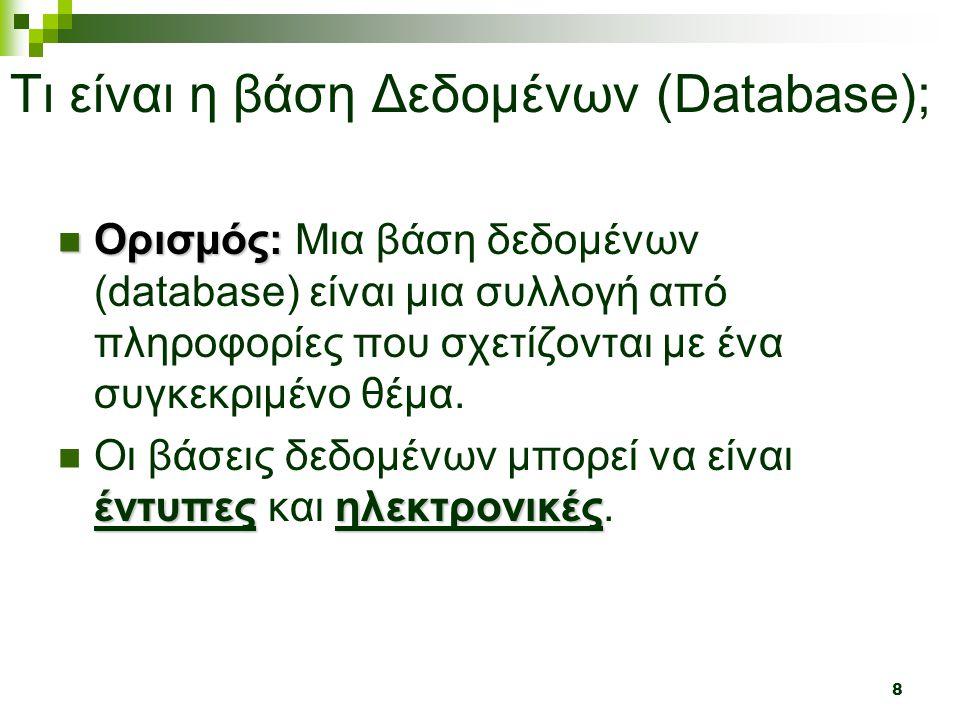 Τι είναι η βάση Δεδομένων (Database);