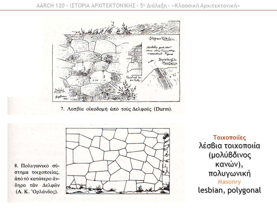 λέσβια τοιχοποιία (μολύβδινος κανών), πολυγωνική