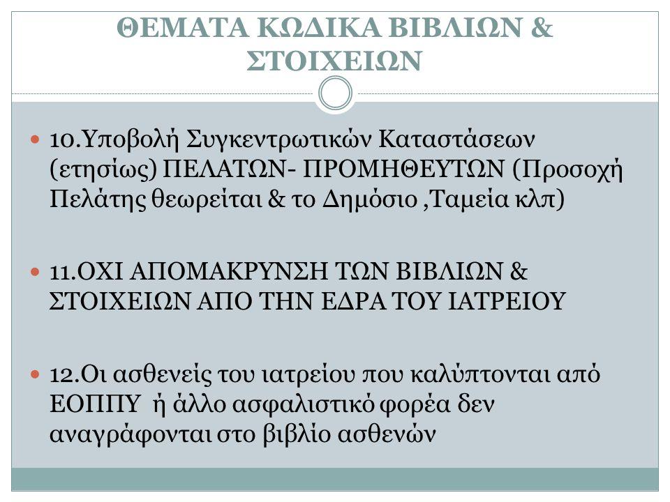 ΘΕΜΑΤΑ ΚΩΔΙΚΑ ΒΙΒΛΙΩΝ & ΣΤΟΙΧΕΙΩΝ