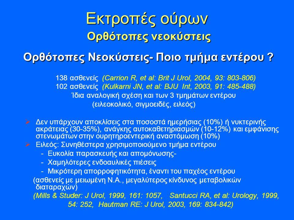 Εκτροπές ούρων Ορθότοπες νεοκύστεις Ορθότοπες Νεοκύστεις- Ποιο τμήμα εντέρου