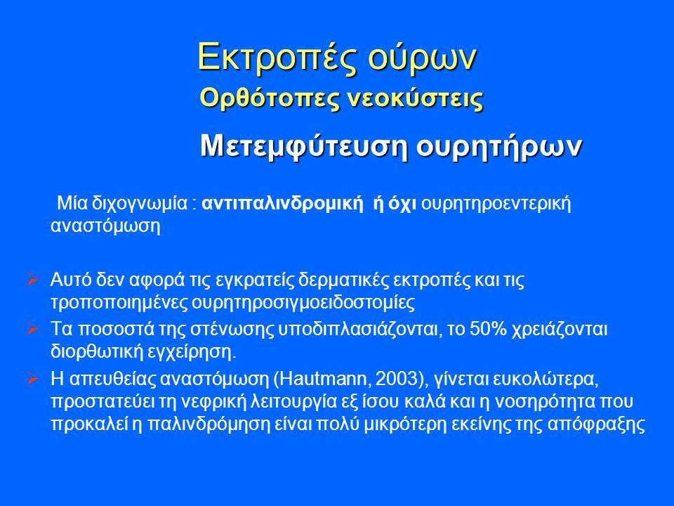 Εκτροπές ούρων Ορθότοπες νεοκύστεις