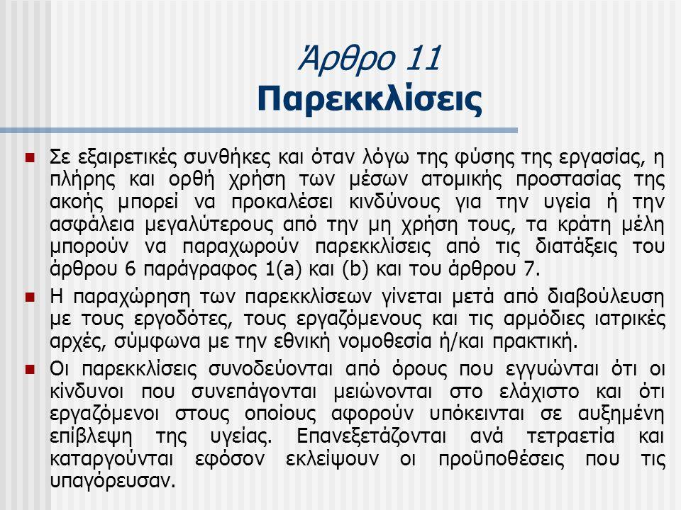 Άρθρο 11 Παρεκκλίσεις