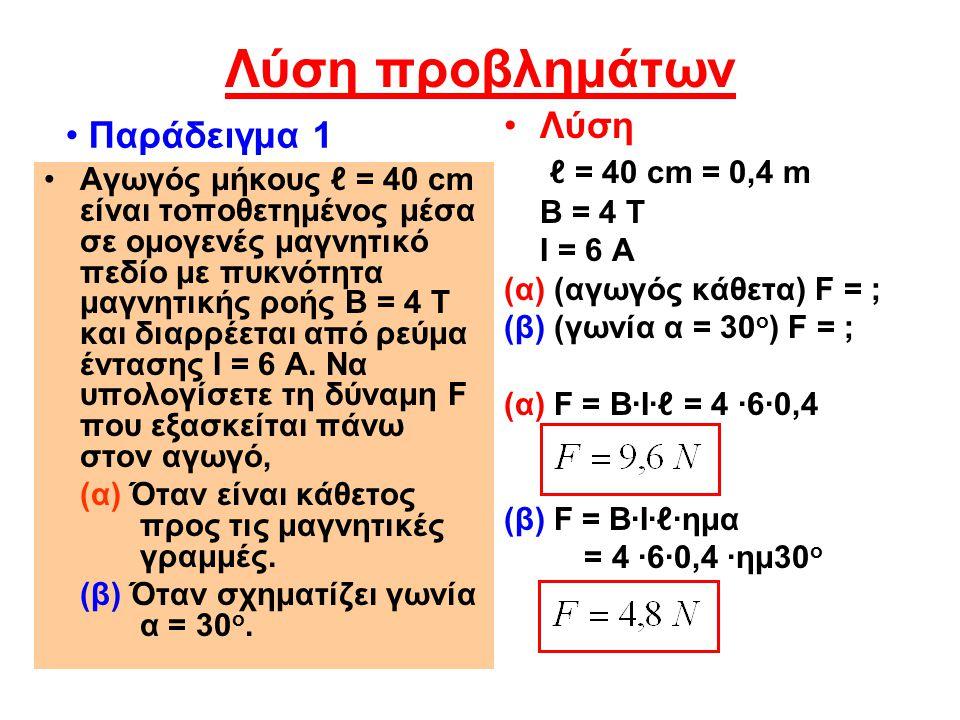 Λύση προβλημάτων Παράδειγμα 1 Λύση ℓ = 40 cm = 0,4 m Β = 4 Τ
