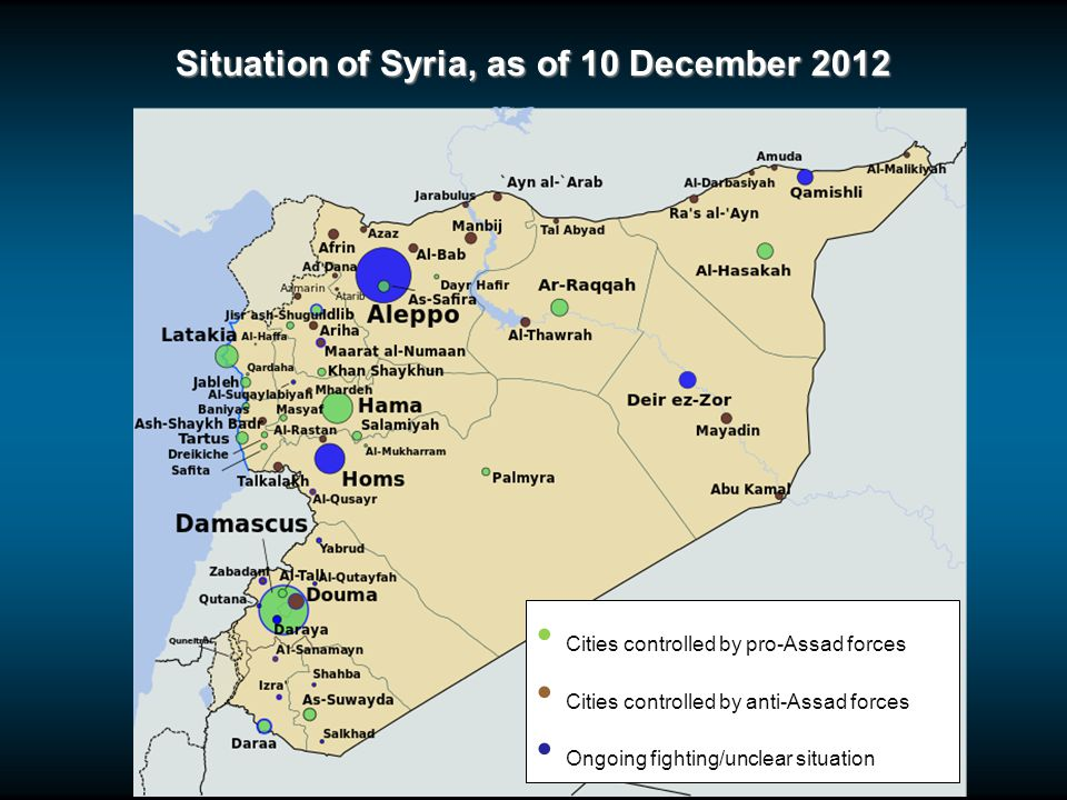 Situation of Syria, as of 10 December 2012