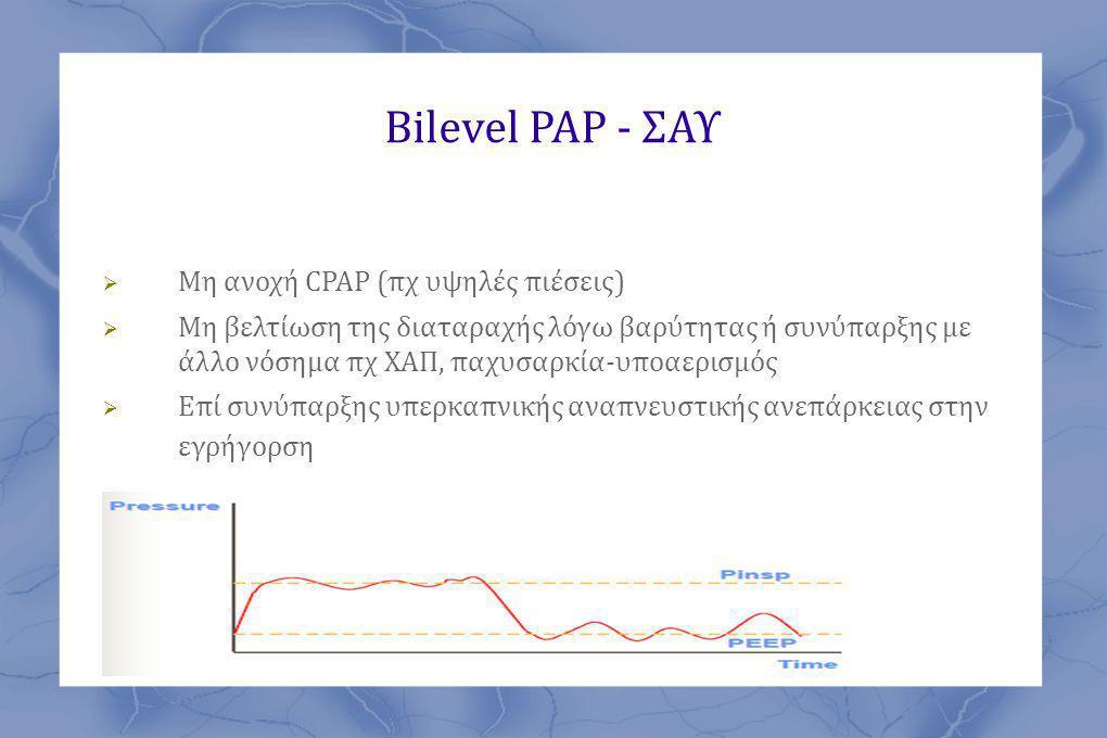 Bilevel PAP - ΣΑΥ Μη ανοχή CPAP (πχ υψηλές πιέσεις)