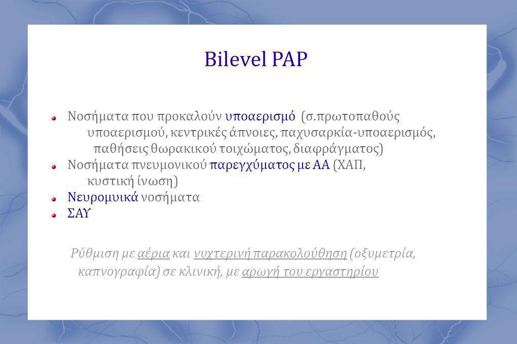 Bilevel PAP Ρύθμιση με αέρια και νυχτερινή παρακολούθηση (οξυμετρία,