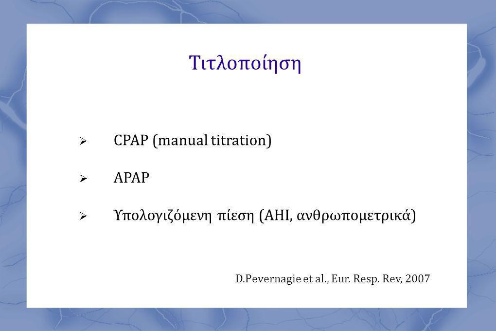 Τιτλοποίηση CPAP (manual titration) APAP