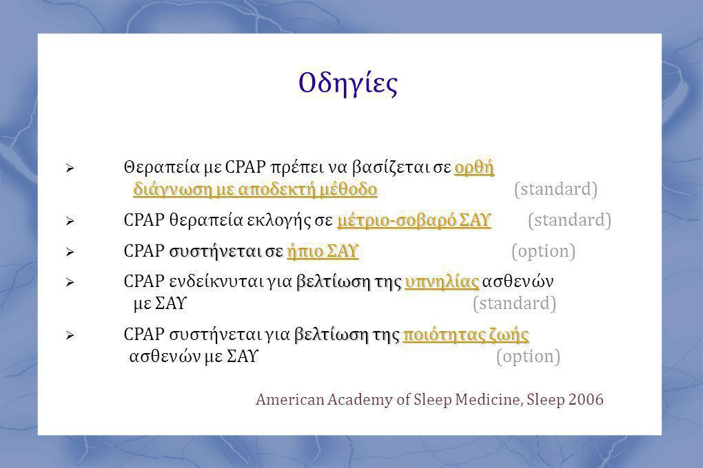 Οδηγίες Θεραπεία με CPAP πρέπει να βασίζεται σε ορθή