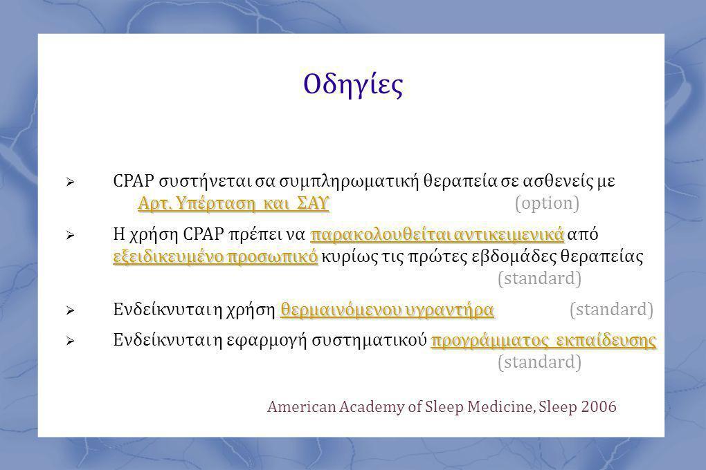 Οδηγίες CPAP συστήνεται σα συμπληρωματική θεραπεία σε ασθενείς με