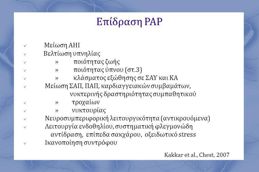 Επίδραση ΡΑΡ Μείωση ΑΗΙ Kakkar et al., Chest, 2007 Βελτίωση υπνηλίας