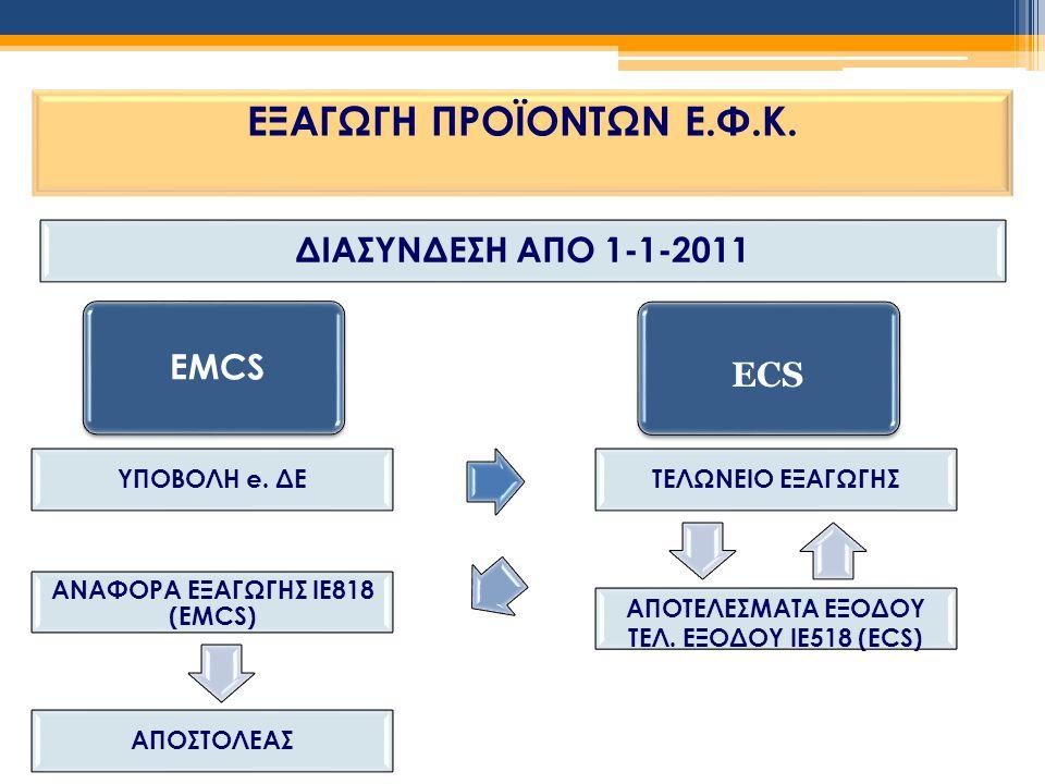 ΕΞΑΓΩΓΗ ΠΡΟΪΟΝΤΩΝ Ε.Φ.Κ. ΔΙΑΣΥΝΔΕΣΗ ΑΠΟ 1-1-2011 EMCS ECS