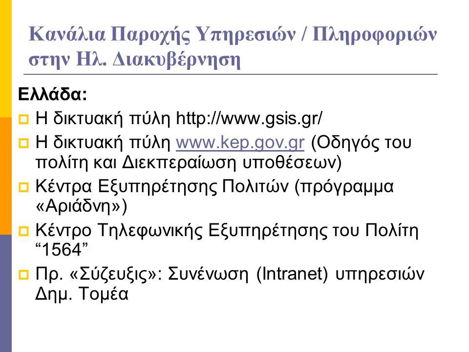 Κανάλια Παροχής Υπηρεσιών / Πληροφοριών στην Ηλ. Διακυβέρνηση