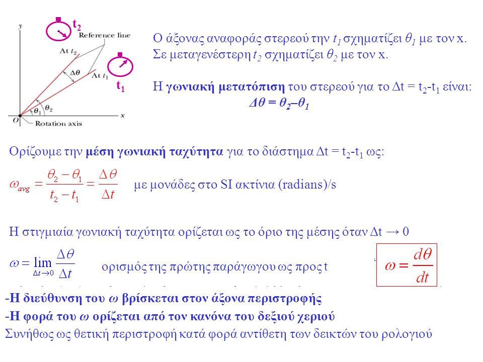 t1 t2. Ο άξονας αναφοράς στερεού την t1 σχηματίζει θ1 με τον x. Σε μεταγενέστερη t2 σχηματίζει θ2 με τον x.