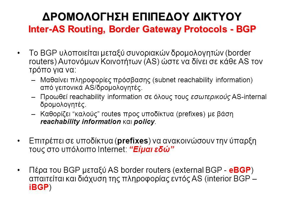 ΔΡΟΜΟΛΟΓΗΣΗ ΕΠΙΠΕΔΟΥ ΔΙΚΤΥΟΥ Inter-AS Routing, Border Gateway Protocols - BGP