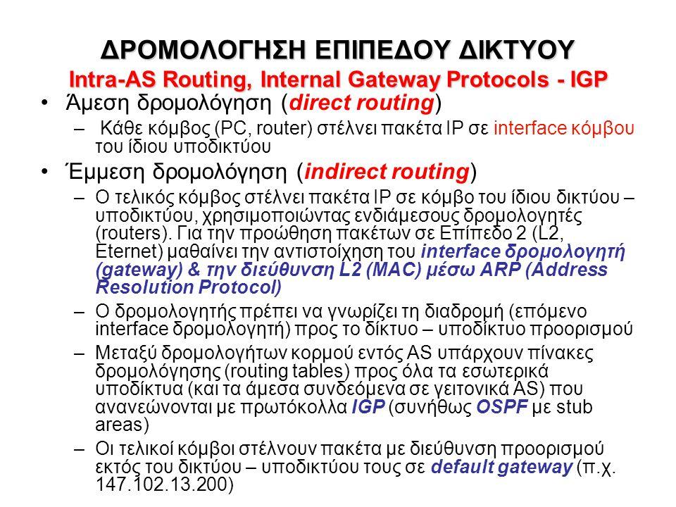 ΔΡΟΜΟΛΟΓΗΣΗ ΕΠΙΠΕΔΟΥ ΔΙΚΤΥΟΥ Intra-AS Routing, Internal Gateway Protocols - IGP